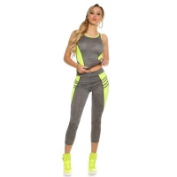 TRENDY 2 PCS SPORT SET FITNESS YOGA JOGGING GREY/NEON-YELLOW