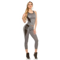 TRENDY 2 PCS SPORT SET FITNESS YOGA JOGGING GREY/BLACK