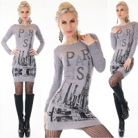 TRENDY LADIES FINE-KNITTED LONG SWEATER PULLOVER PARIS GREY Onesize (UK 8,10,12)