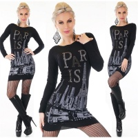 TRENDY LADIES FINE-KNITTED LONG SWEATER PULLOVER PARIS BLACK Onesize (UK 8,10,12)