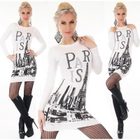 TRENDY LADIES FINE-KNITTED LONG SWEATER PULLOVER PARIS WHITE