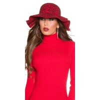 TRENDY FLOPPY HAT IN LEOPARD-LOOK WITH RIBBON LEO/RED