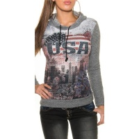 TRENDY LADIES HOODIE SWEATER JUMPER WITH USA PRINT GREY