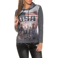 TRENDY LADIES HOODIE SWEATER JUMPER WITH USA PRINT NAVY