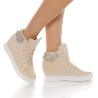 TRENDY LADIES WEDGE HEEL SNEAKERS SHOES WITH RHINESTONES...