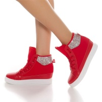 TRENDY LADIES WEDGE HEEL SNEAKERS SHOES WITH RHINESTONES RED