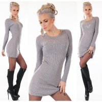 TRENDY LADIES RIB-KNITTED LONG SWEATER PULLOVER PARIS GREY