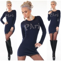TRENDY LADIES RIB-KNITTED LONG SWEATER PULLOVER PARIS NAVY