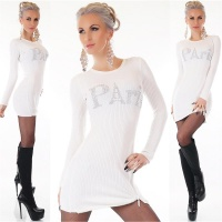 TRENDY LADIES RIB-KNITTED LONG SWEATER PULLOVER PARIS WHITE