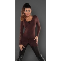 TRENDY FINE-KNITTED CARDIGAN JERSEY JACKET WITH LACE BROWN Onesize (UK 8,10,12)