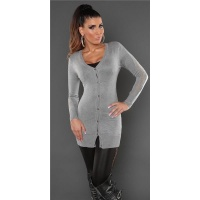 TRENDY FINE-KNITTED CARDIGAN JERSEY JACKET WITH LACE GREY