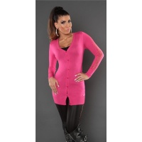 TRENDY FINE-KNITTED CARDIGAN JERSEY JACKET WITH LACE FUCHSIA