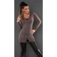 TRENDY FINE-KNITTED CARDIGAN JERSEY JACKET WITH LACE TAUPE