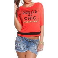 TRENDY HALF-LENGTH SLEEVED SHIRT WITH PRINT WILD AND CHIC CORAL