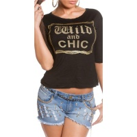 TRENDY HALBARM SHIRT MIT PRINT WILD AND CHIC SCHWARZ