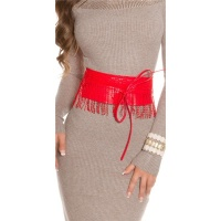 TRENDY IMITATION LEATHER WAIST BELT TO TIE WITH FRINGES RED