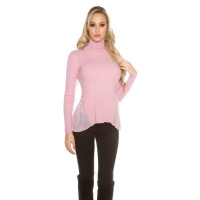 RIB-KNITTED POLO-NECK SWEATER WITH CHIFFON ANTIQUE PINK