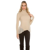 RIB-KNITTED POLO-NECK SWEATER WITH CHIFFON BEIGE