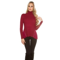 RIB-KNITTED POLO-NECK SWEATER WITH CHIFFON WINE-RED