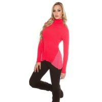 RIB-KNITTED POLO-NECK SWEATER WITH CHIFFON CORAL