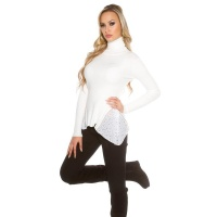 RIB-KNITTED POLO-NECK SWEATER WITH CHIFFON WHITE