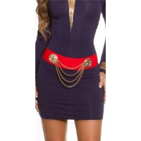 TRENDY STRETCH-BELT WITH GOLD-COLOURED CHAINS RED