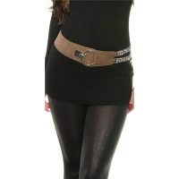 TRENDY WOMEN`S STRETCH-BELT WITH RHINESTONE CHAIN CAPPUCCINO