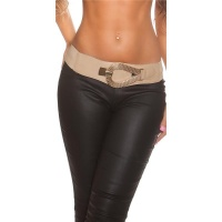 TRENDY LADIES STRETCH-BELT WITH XL-BUCKLE CAPPUCCINO