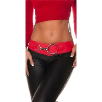 TRENDY LADIES STRETCH HIP-BELT WITH XXL-BUCKLE RED