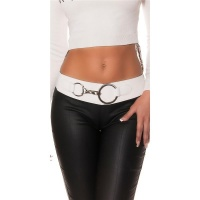 TRENDY LADIES STRETCH HIP-BELT WITH XXL-BUCKLE WHITE