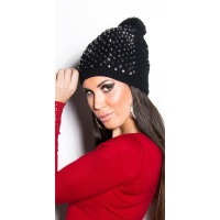 TRENDY WINTER CAP WITH POMPON AND RHINESTONES BLACK