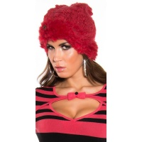 TRENDY KNITTED WINTER CAP WITH POMPON AND CUDDLY ANGORA FUR CORAL