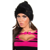 TRENDY KNITTED WINTER CAP WITH POMPON AND CUDDLY ANGORA FUR BLACK