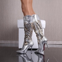 SEXY GLAMOUR LADIES BOOTS IN CROC-LOOK WITH SEQUINS SILVER