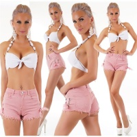 ULTRA SHORT JEANS HOT PANTS WITH FRAYED HEM AND LACING...