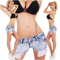 ULTRA KURZE JEANS HOTPANTS IM USED-LOOK MIT STRASS HELLBLAU