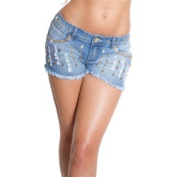 MEGA SEXY DESTROYED JEANS HOT PANTS FRAYED WITH RHINESTONES BLUE UK 14