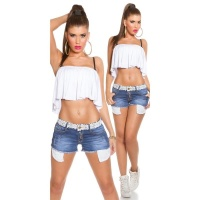 STUNNINGLY SEXY JEANS HOTPANTS FRAYED WITH LACE BLUE