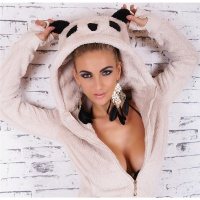 WARM AND CUDDLY SOFT FLEECE JACKET WITH PANDA HOOD BEIGE UK 12/14 (M/L)