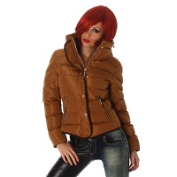 EXCLUSIVE WARM AND WADDED WINTER JACKET WITH HOOD BROWN