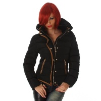 EXCLUSIVE WARM AND WADDED WINTER JACKET WITH HOOD BLACK UK 12