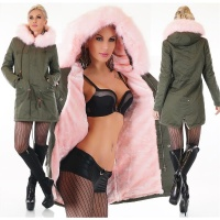 WARM PARKA COAT WINTER JACKET WITH FAKE FUR OLIVE/PINK