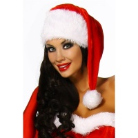 SANTA CAP WITH POMPON CHRISTMAS PARTY RED/WHITE