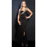 GLAMOROUS ONE-SHOULDER GALA LACE DRESS WITH SEQUINS BLACK