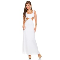 LONG GODDESS-LOOK MAXI EVENING DRESS WITH CUT-OUTS WHITE