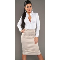 ELEGANT BUSINESS SATIN WAIST SKIRT WITH DECORATIVE BUTTONS BEIGE UK 14 (L)