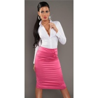 ELEGANT BUSINESS SATIN WAIST-SKIRT WITH DECORATING BUTTONS FUCHSIA