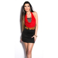 ELEGANT 2-IN-1 HALTERNECK MINIDRESS WITH BELT RED/BLACK