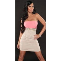 SEXY STRAPLESS BI-COLOUR MINIDRESS PARTY DRESS BEIGE/CORAL