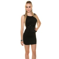 ELEGANT SHEATH DRESS EVENING DRESS WITH PEPLUM BLACK